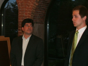 Joe Perroncello (left), owner of the North End Union building, and his attorney.