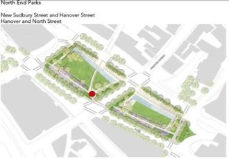 Layout of North End Parks for use by event planners as depicted in the revised Greenway Park Use and Event Guidelines