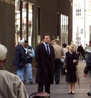 """Ben Affleck Filiming """"In the Company of Men"""" in Financial District, April 2009. News reports indicate his new film, """"The Town"""" will have scenes from the North End. Affleck is directing and starring in """"The Town"""" with Jon Hamm."""