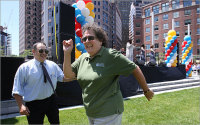 Conservancy officials dance at Chiofaro's event to promote his Harbor Garage Redevelopment proposal. Note the large stage with live entertainment and balloons (which are prohibited on the Greenway). Click image for more photos at Boston.com