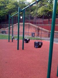 """Repaired swing (left infant seat swing) at DeFilippo Playground (""""the Gassy"""")"""