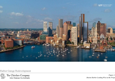 Image showing Chiofaro's proposed black towers as the highest buildings on the waterfront skyline.