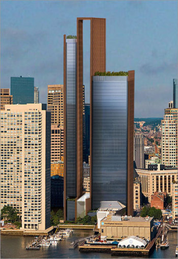 Chiofaro has scaled this previous plan down, removing the skyframe in the middle and the tallest building to 53 stories, down from 59