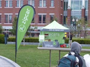 Zipcar tent and advertising on the North End parks.