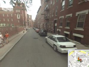 View down Hull Street on the Freedom Trail along Copps Hill facing the Old North Church (Google Maps).