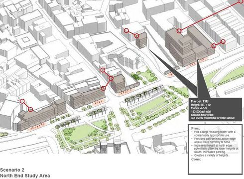 BRA's Scenario 2 for North End Development Along the Greenway - Note 110 feet on Fulton St Garage (Click to Enlarge)