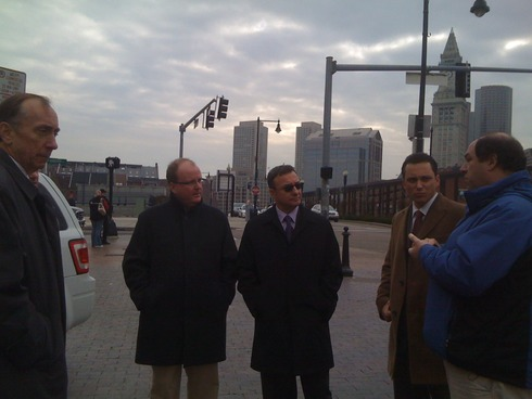 Transportation Commissioner Tom Timlin Meets With City Councilor Sal LaMattina, State Rep. Aaron Michlewitz and MassDOT's John Romano on the Reconfiguration of the Cross St. Sidewalk