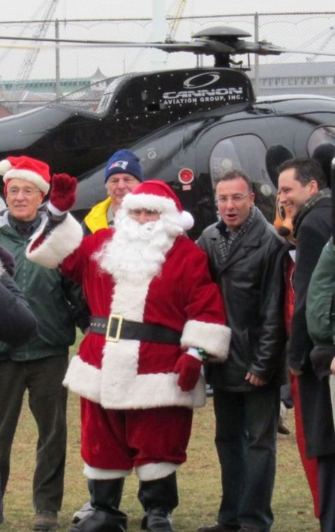 Santa arrives by helicopter at the North End parks, greeted by public officials, including City Councilor Sal LaMattina & State Rep. Aaron Michlewitz