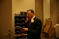 On the phone after the Inauguration (Photo courtesy of Councilor LaMattina's Office)