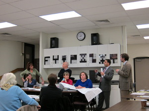 NEWRA listens to the applicant, Ed Gates (right), Attorney Toscano (2nd to right) and a Marci, a concerned resident (left). Click image to enlarge.