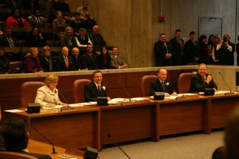 Councilor LaMattina (second from left) sits with the Boston City Council for its Inaugural Session