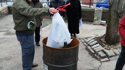 Household trash dumped in a barrel at the Gassy