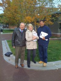 Last fall Ken Crasco, Boston's Chief Landscape Architect, Joanne Hayes-Rines, FOCCP president, and Warren Mustacchio (r.) at the location for the bulletin board. (Photo: Joanne Hayes-Rines)