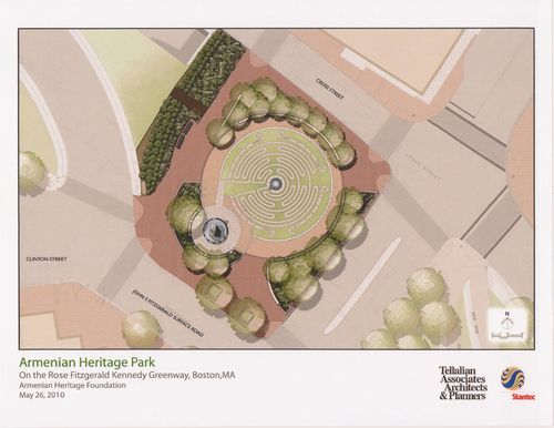 Artist rendering of the final design for the Armenian Heritage Park (Click to enlarge.)