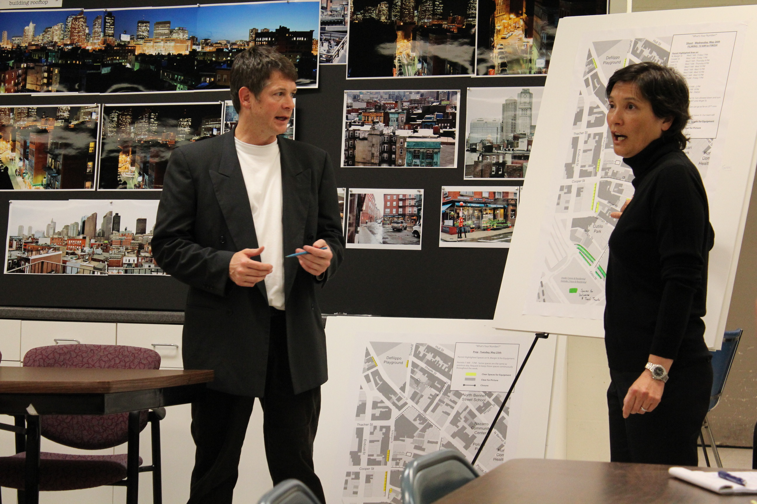 Mark Fitzgerald, Location Manager, and Nan Morales, Executive Producer, explain the schedule.