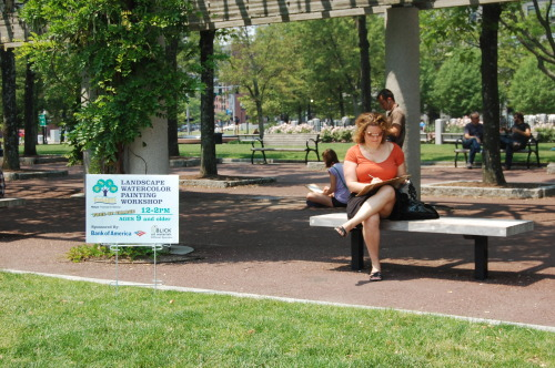 Painting in the Park at the Landscape Watercolor Workshop (Photo: ParkARTS, City of Boston)