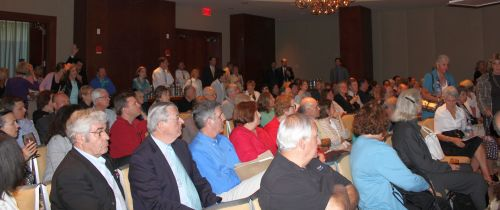 Standing room only; North End/Waterfront residents crowd the Fairmont Battery Wharf ballroom.