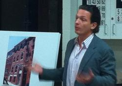 Damian Szary, presents renovation plans for 50 Snow Hill Street.
