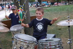 Playing the drums at the WECF