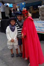 Fishermen Sam and Charlie Griffin pose with Marilyn Fitzgerald as The Devil. (Photo: R. Griffin)
