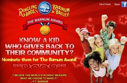 Nominate Local Children Who Give Back To The Community For The Barnum Award, Presented by The Greatest Show On Earth®