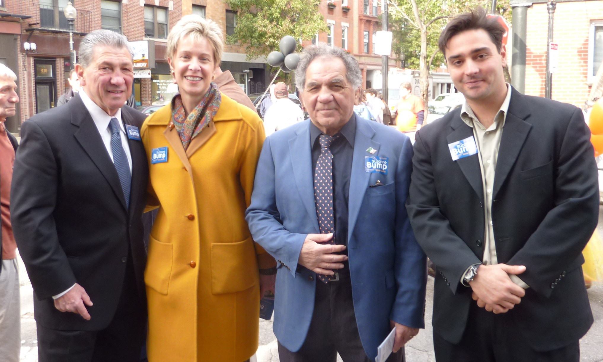 (Left to right) State Auditor Joe DeNucci, State Auditor Candidate Suzzane Bump, Boxing Champ Tony Demarco and Mike Seifried on Hanover Street.