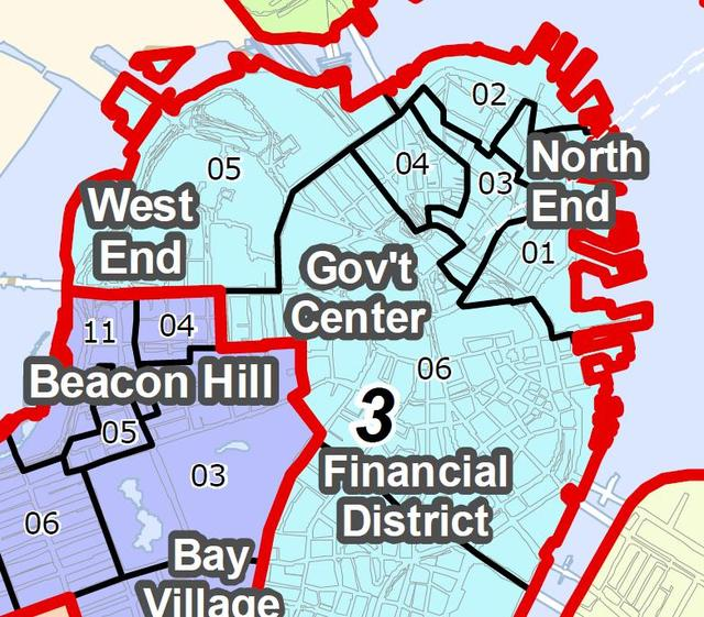 Voter precinct map. The North End / Waterfront is in Ward 3, Precincts 1-4.