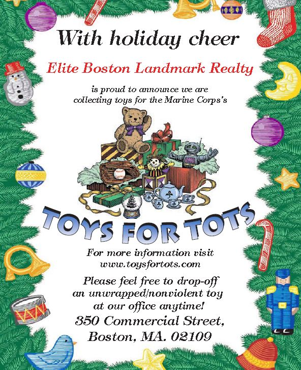 Toys For Tots Advertisement : Elite boston landmark realty collecting toys for tots