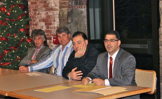 Presenting for Tresca Restaurant: (left to right) Co-owner Harvey Wilk, Co-Owner/Hockey Legend Ray Bourque, General Manager Massimo Tiberi, Attorney Daniel Toscano (Photo by Matt Conti)