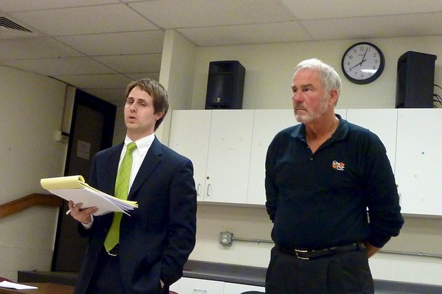 (Photo: John Hauck (right), owner of The Living Room and Michael Overson, attorney).