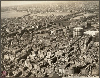 "Aerial of the North End and West End (Note the Gas Tank in the ""Gassy"") - 1925 (Courtesy of Boston Public Library)"