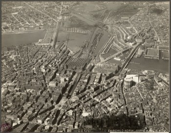 Aerial North End and West End - Shows Gas Tank (Courtesy of Boston Public Library)