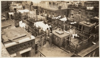 Cleveland Place block, North End, showing rooftop overcrowding (from Boston Tenement album) 1935 (Courtesy of Boston Public Library)