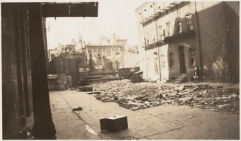 Hanover Street Court. Recent demolitions have left this area vacant. Sunlight reaches the front rooms of the house pictured for the first time 1930s (Courtesy of Boston Public Library)
