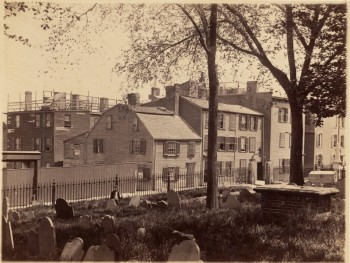 Hull St. Copps Hill burying ground in foreground (Courtesy of Boston Public Library)