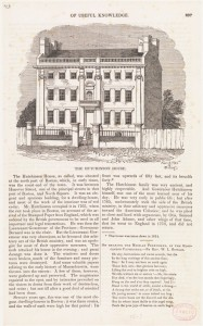 Hutchinson House, North (or Clark's) Square fronting on Garden Court with gardens to Fleet & Hanover Streets, built late 1600s, razed in 1834 (Courtesy of Boston Public Library)