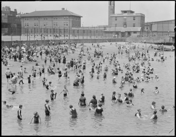 North End Beach with Commercial Street (Courtesy of Boston Public Library)
