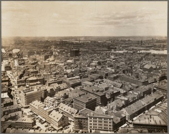 North End aerial with gas tank (Courtesy of Boston Public Library)