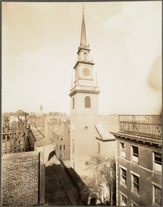 Old North Church with Clock (Courtesy of Boston Public Library)