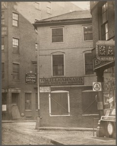 Public Alley 102. From 9 Marshall St. to 8 Creek Square. Showing the Boston stone. (Courtesy of Boston Public Library)