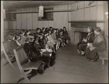 Story hour for girls at the North End Library - 1939 (Courtesy of Boston Public Library)