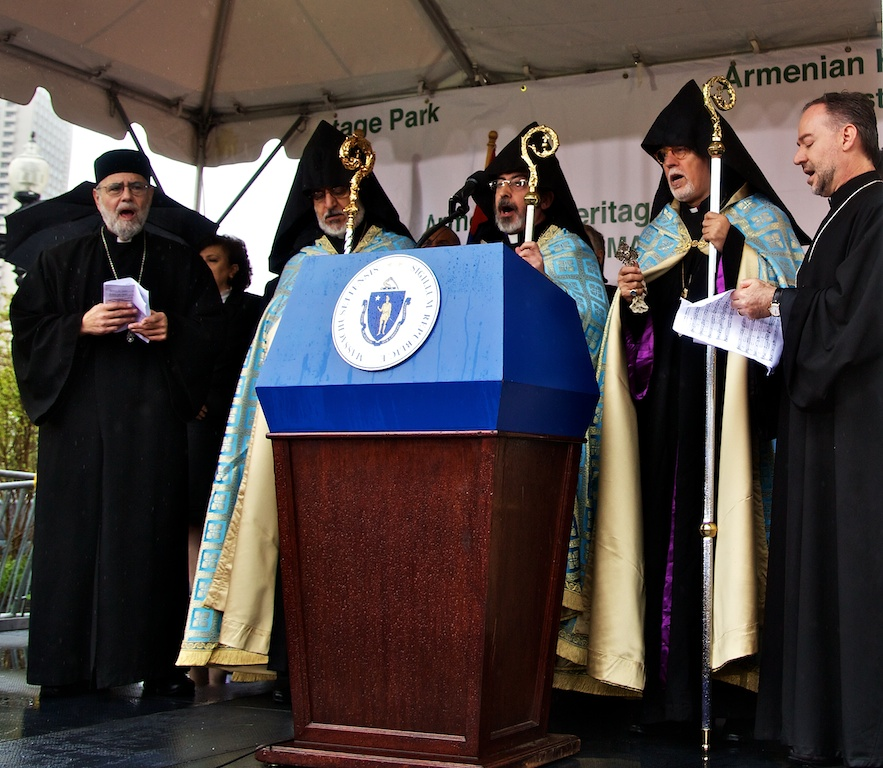 Archbishop Khajag Barsamian of the Armenian Church of America and Reverend Clergy