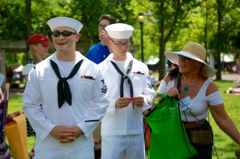 It's Navy Week - Jason and Greg of the USS Gravely, DDG107, helped Frankie Boyer pull the winning raffle tickets - Photo by Matt Conti