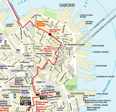 The Freedom Trail Map - North End