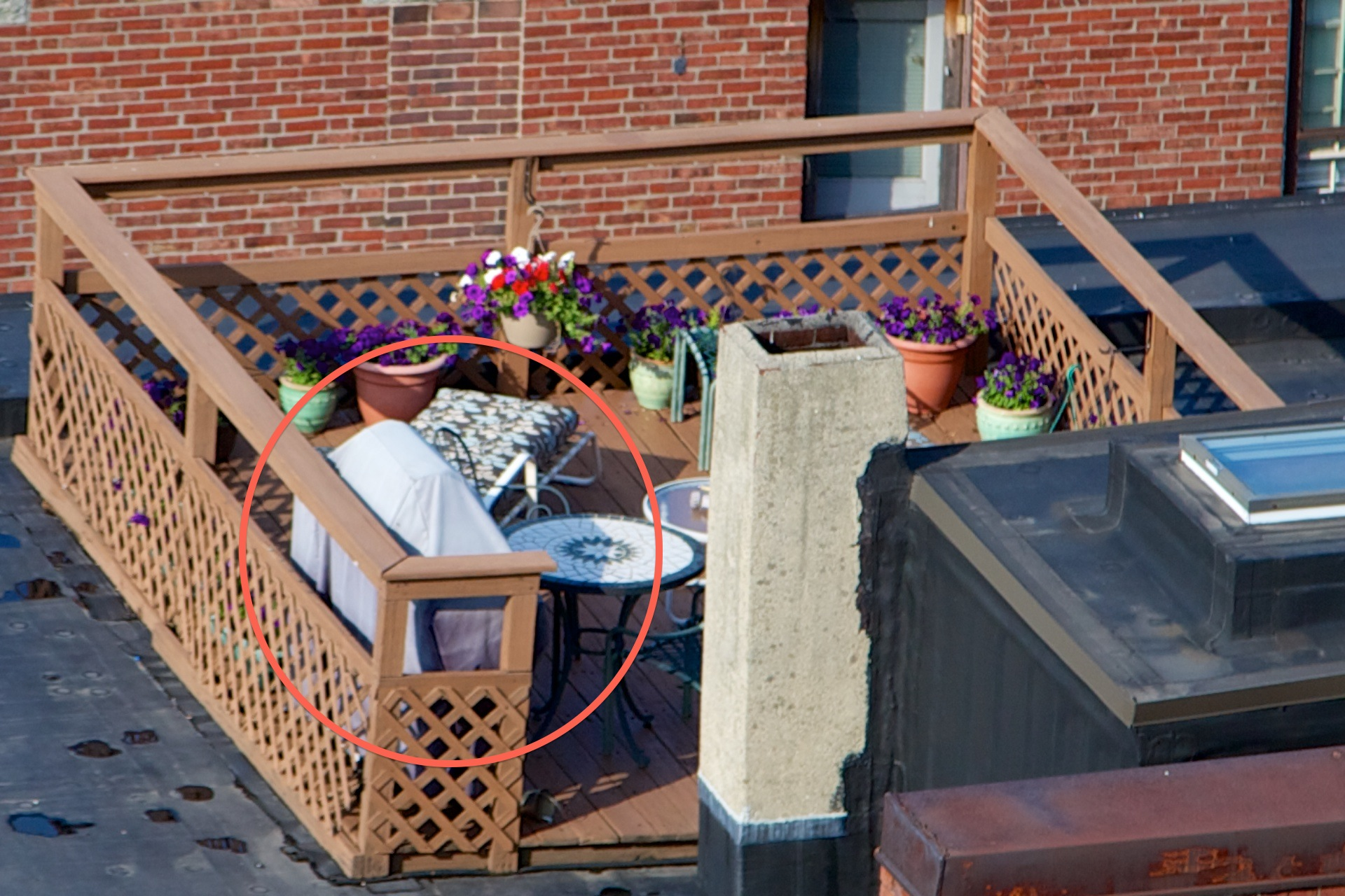 Gas grills common on north end roof decks photos reveal for Balcony on roof