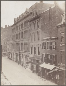 Hanover Street, north side, from Portland Street. Building on right of picture removed in extension of Washington St. 1872 (Courtesy of Boston Public Library)