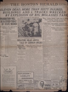 Eleven dead, more than sixty injured, buildings and L tracks wrecked by explosion of big molasses tank [Boston Herald, January 16, 1919] - Courtesy of Boston Public LIbrary