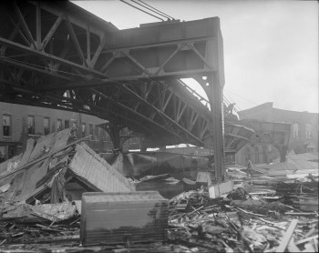 Twisted elevated structure on Atlantic Avenue damaged in Molasses Disaster - Leslie Jones copyright - Courtesy of Boston Public Library