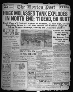 The Boston Post front page news coverage (11 dead, 50 hurt) of the Molasses Disaster, January 16, 1919 (Courtesy Boston Public Library)