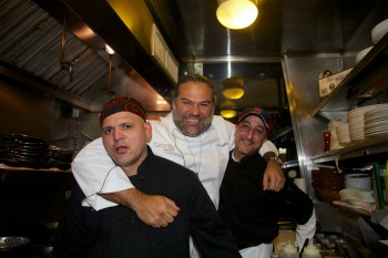 Chef Jose Duarte (center) in the Taranta kitchen with Alaa Zakaria and Ricardo Flores